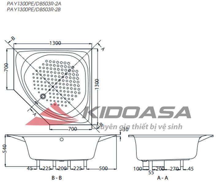 Bản vẽ kỹ thuật bồn tắm góc TOTO PAY1300PE/DB503R-2A