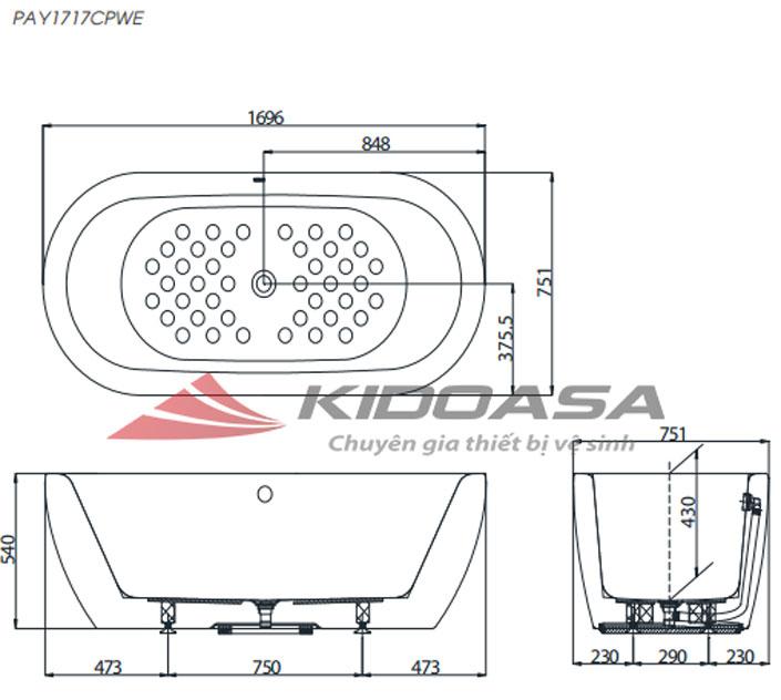Bản vẽ kỹ thuật bồn tắm nhựa TOTO PAY1717CPWE#W