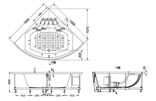 Bản vẽ kỹ thuật bồn tắm ngọc trai góc TOTO PPY1543-5HPE#P/DB503R-2A/NTP002E