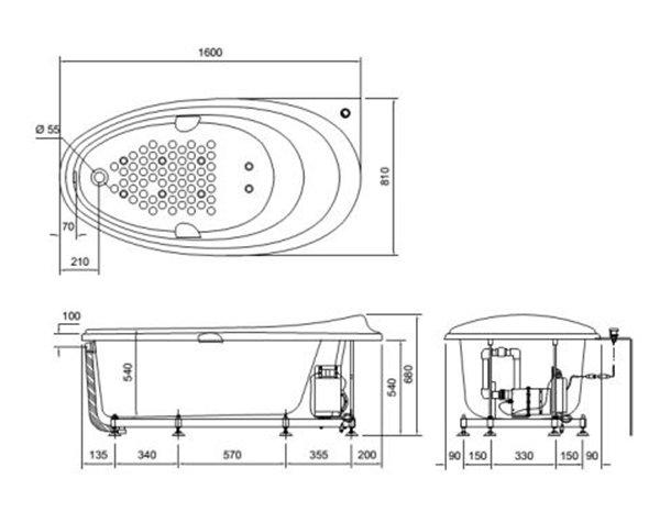 Bản vẽ kỹ thuật bồn tắm ngọc trai TOTO PPY1610HPWE
