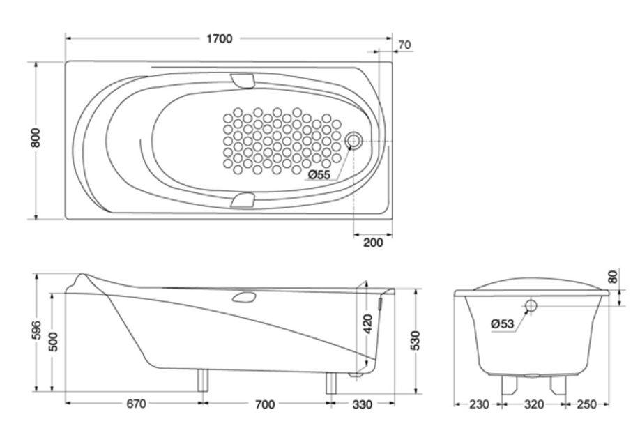 Bản vẽ kỹ thuật bồn tắm ngọc trai TOTO PPY1710PE#S/DB501R-2B
