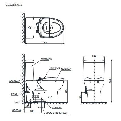 Bản vẽ kỹ thuật bồn cầu TOTO CS320DKRT3