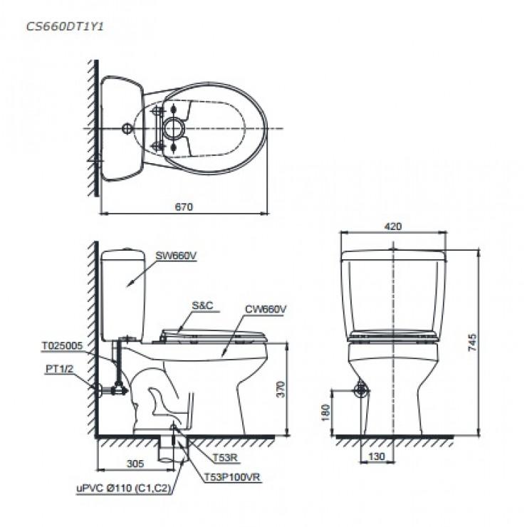 Bản vẽ kỹ thuật bồn cầu TOTO CS660DT1Y1