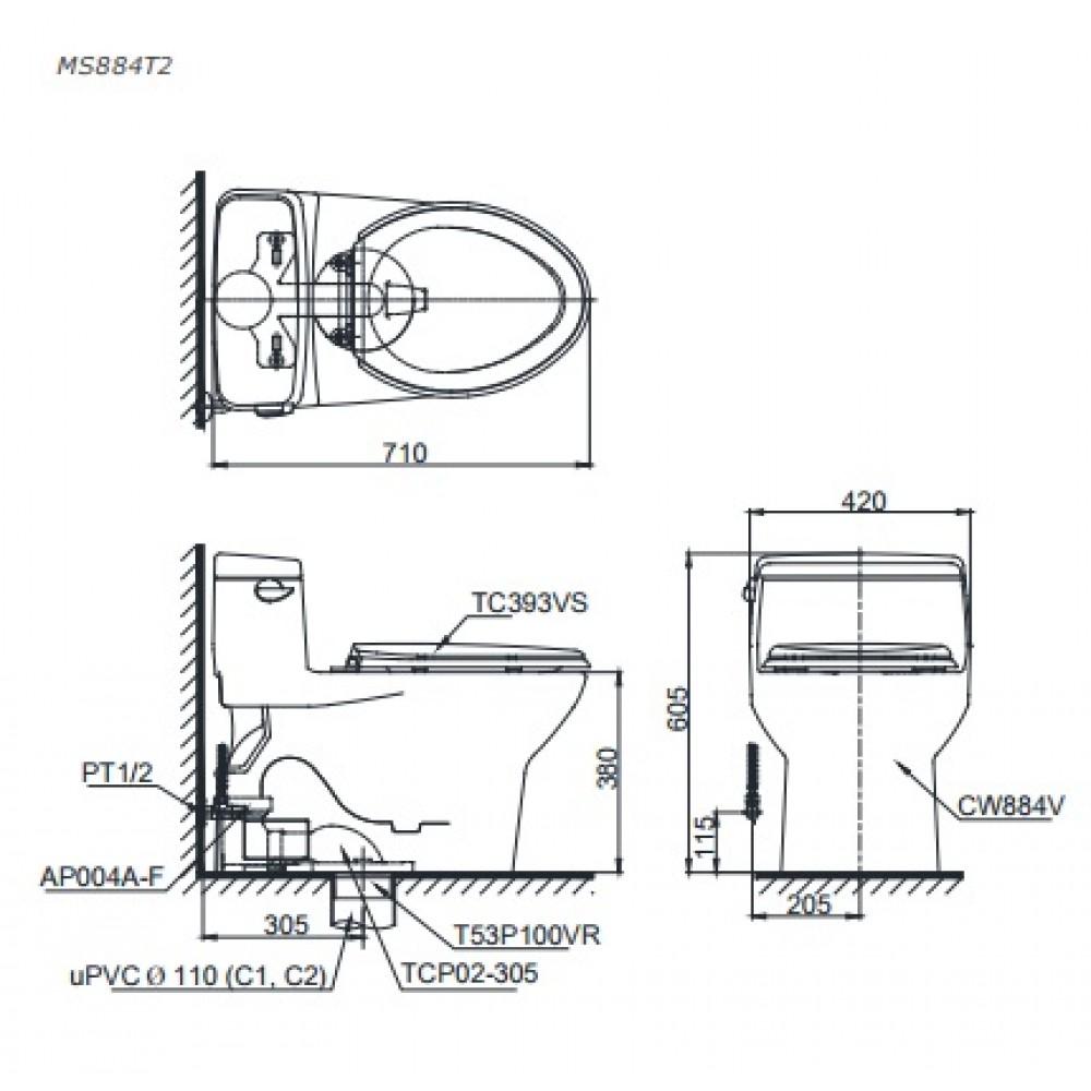 Bản vẽ kỹ thuật củabồn cầu 1 khốiMS884T2