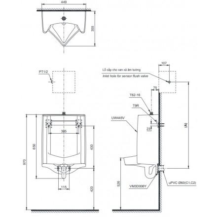 Bản vẽ kỹ thuật TOTO UT445